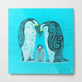 Swirly Penguin Family Metal Print