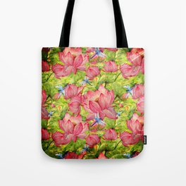 Floral Lotus Flowers Pattern with Dragonfly Tote Bag