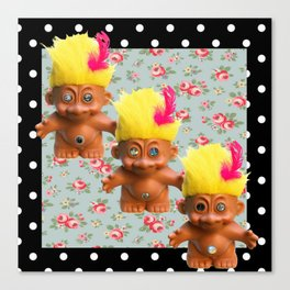 Mentalembellisher Mad-Eyed Troll Triplets Flowers & Polka Dots Canvas Print