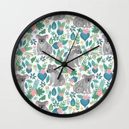 Koalas and Flowers Wall Clock