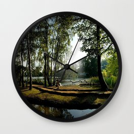 es park river light fountain statue reflection cool Wall Clock