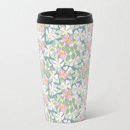 Pink Dogroses on Moody Blue Travel Mug