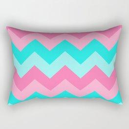 Hot Pink Turquoise Aqua Blue Chevron Zigzag Pattern Print Rectangular Pillow