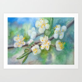 Wall Decor , Floral Watercolor, Blooming tree, abstract, spring, blossom Art Print