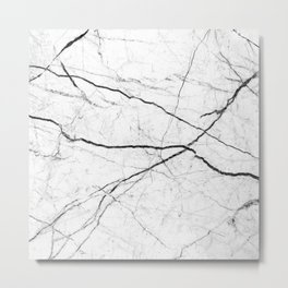 White marble abstract texture pattern Metal Print