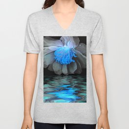 Peony In Darkness And Light Unisex V-Neck