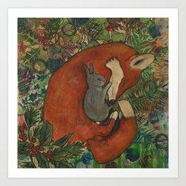 Mixed Media Fox and Bunny Art Print