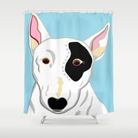 bull terrier Shower Curtains featuring Bull Terrier by EloiseArt