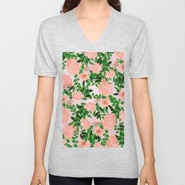 Botanical pink coral forest green watercolor floral Unisex V-Neck