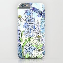 Watercolor Wildflower Garden Dragonfly Blue Flowers Daisies iPhone Case