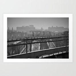 Tales of a Subway Train in Black and White Art Print