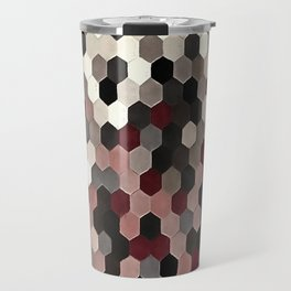 Hexagon Pattern In Gray and Burgundy Autumn Colors Travel Mug