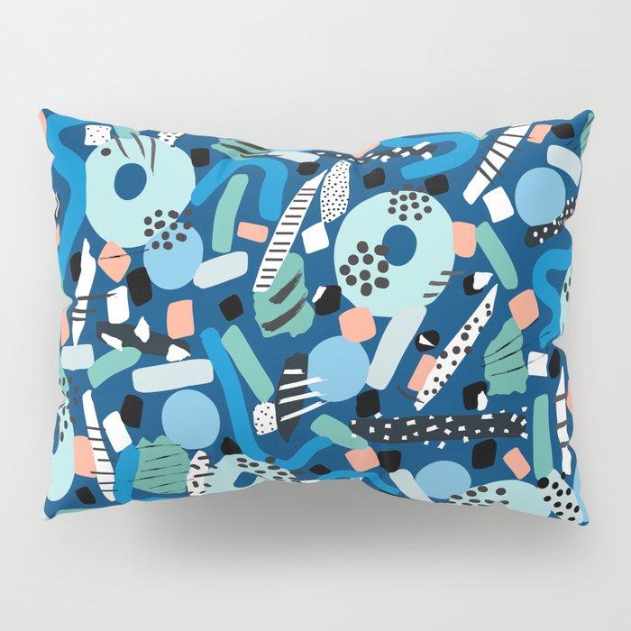 CIRCLES IN MOTION - GREEN/ BLUE brush stroke Pillow Sham