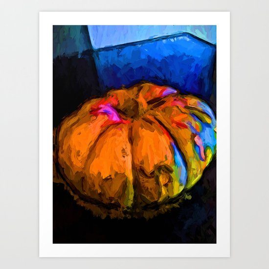 Orange Pumpkin with some Blue and Pink Art Print