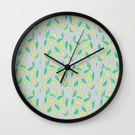 Lemons on grey Wall Clock