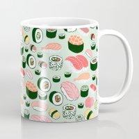 sushi Mugs featuring Sushi Love by Kristin Nohe Juchs