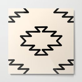 Southwest Azteca - Geometric Pattern in Black and Almond Cream Metal Print