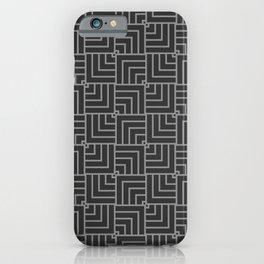 Dark Grey Geometric Square Pattern iPhone Case