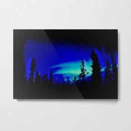Aurora Borealis Forest Vibrant Metal Print