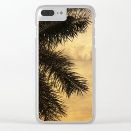 Yellow Sunset Palm Tree Photography | Golden Sky | Beach Vibes Clear iPhone Case