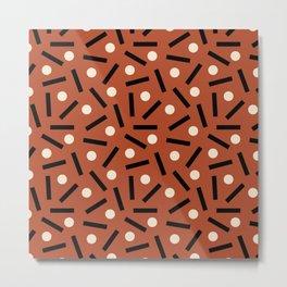 Postmodern Sticks + Stones in Terracotta Metal Print