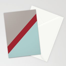 Red Grey Pastel Blue Diagonal Stripe Pattern Rustoleum 2021 Color of the Year Satin Paprika & Accent Stationery Cards