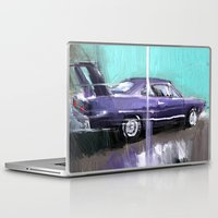 muscle Laptop & iPad Skins featuring The purple muscle car by mystudio69