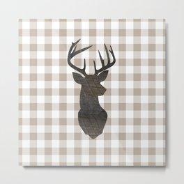 Rustic Farmhouse Decor, Plaid, Gingham, Deer Stag, Beige, Brown Metal Print