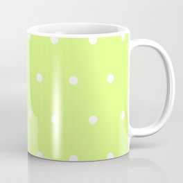 Big white polka dots pattern on light lime green background Coffee Mug