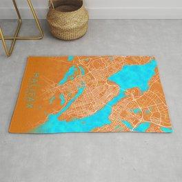 Halifax, NS, Canada, Gold, Blue, City, Map Rug