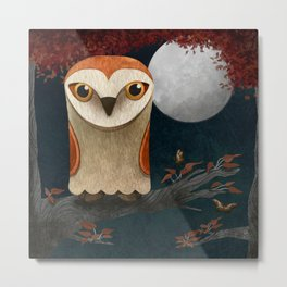 Deep in the Night, Owl Eyes Bright Metal Print