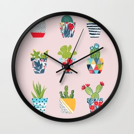 Funny cacti illustration Wall Clock
