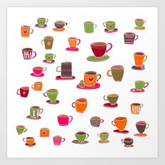 Coffee Cup Green & Orange Art Print