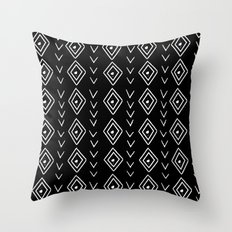 mudcloth 8 minimal textured black and white pattern home decor minimalist Throw Pillow
