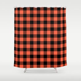 Jumbo Living Coral Color of the Year Orange and Black Buffalo Check Plaid Shower Curtain