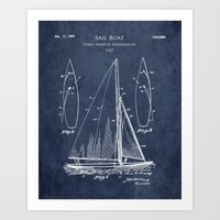 1920s Sailboat Blueprint Art Print