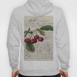 shabby elegance french country botanical illustration vintage red cherry Hoody