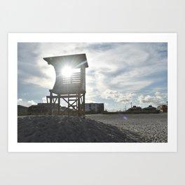 Sunlight Through Lifeguard Tower / Wrightsville Beach, NC Art Print