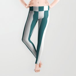 Pacific Blue Green Simple Basic Striped Pattern  Leggings