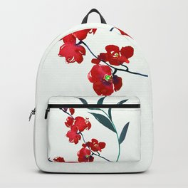 Coral red orchid navy ocean blue foliage simple watercolor design Backpack