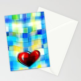 Heart on Bluish Tile Pattern Stationery Cards