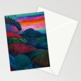 'Farmer on his Way Home at Sunrise' mountain landscape by Marianne von Werefkin Stationery Cards