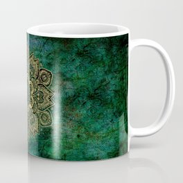 Golden Flower Mandala on Dark Green Coffee Mug