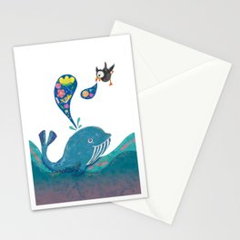 A whale and a puffin Stationery Cards