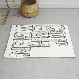 Copenhagen Street Map Typography Rug
