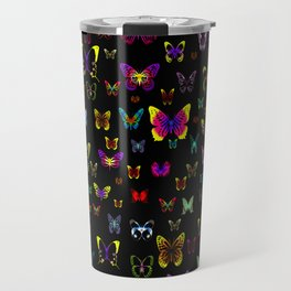 Numerous colorful butterflies on a neutral background Travel Mug
