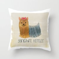 yorkie Throw Pillows featuring Yorkie by 52 Dogs