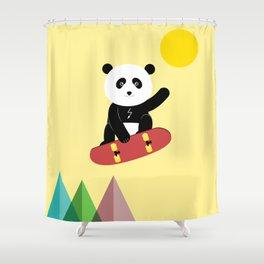 Panda on a skateboard Shower Curtain