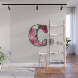Letter C Rose Monogram Wall Mural
