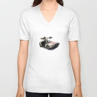 delorean V-neck T-shirts featuring Number 3 - DeLorean by Vin Zzep